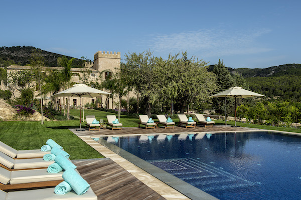 The pool area at Castell Son Claret in Mallorca