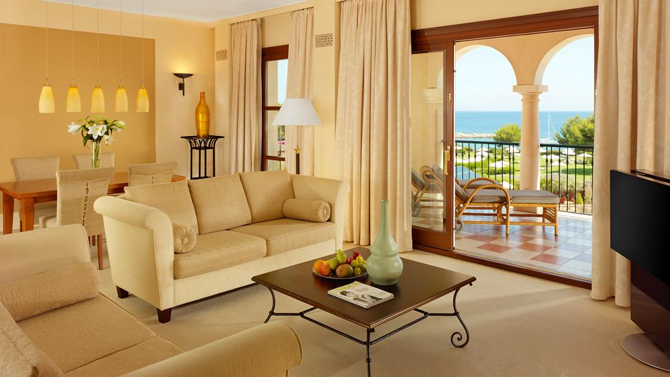 The bedrooms at St Regis Mardavall in Mallorca