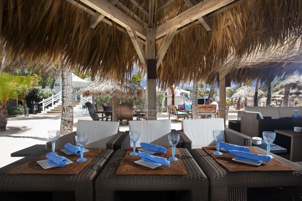 The beach restaurant at Le Guanahani in St Bart's
