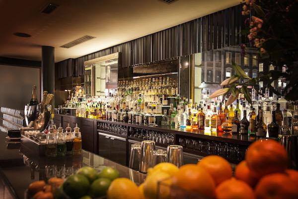 The bar at Moti Mahal restaurant in London