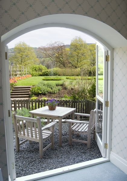 The terrace at The Lakeside Hotel in the Lake District