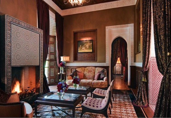 The living room in the riads at Royal Mansour in Marrakech