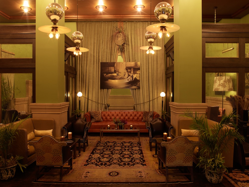 The restaurant and bar area at the Soho Grand Hotel