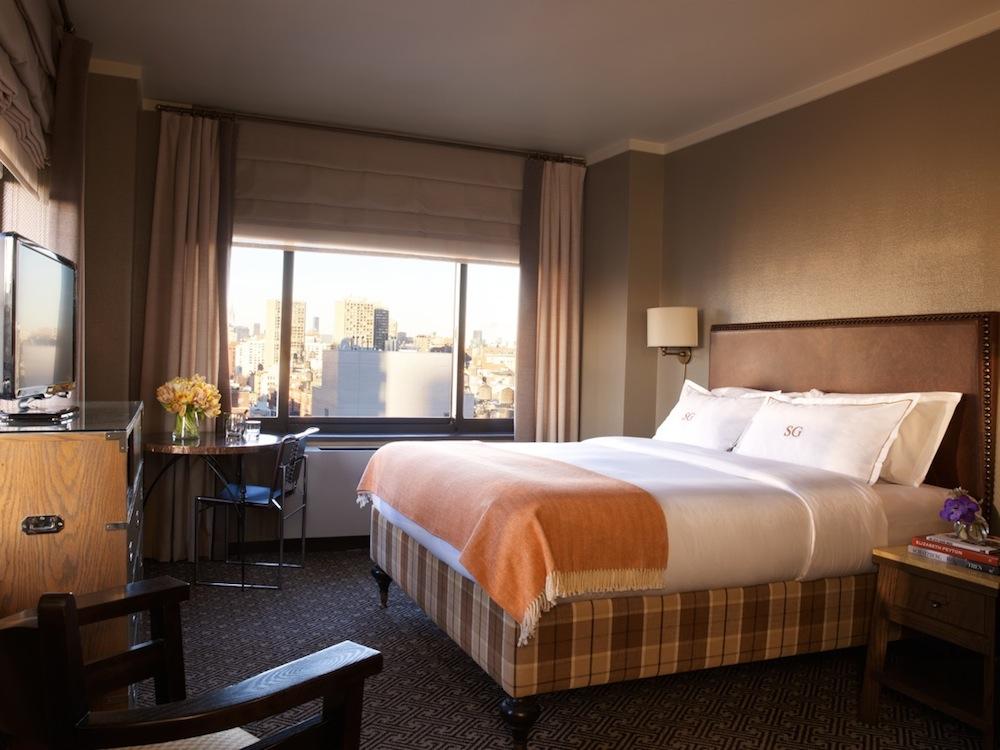 The bedroom at the Soho Grand Hotel