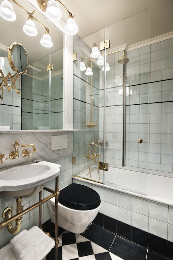 The bathroom of The Marlton Hotel in NYC